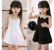 Princess Lace Sleeveless Sequin Collar Girls Beautiful Party Dress