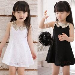 Princess Lace Sleeveless Sequin Collar Girls Beautiful Party Dress