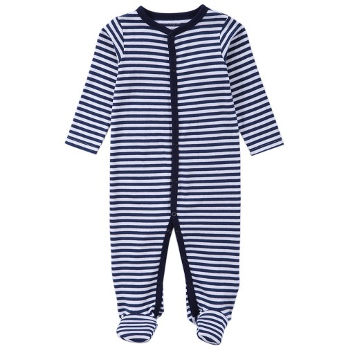 Explosion models hot Selling Cotton o neck Long sleeve Footies newborn baby boy and girl clothes blue stripes pattern