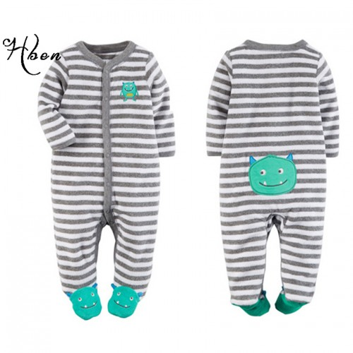 Fashion Baby Boys Girls Footies Clothes Brand Long Sleeve Stripe Clothing Newborn Kids Monster Footies Clothing Free Shipping