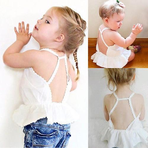 Fashion Summer Baby Kids Girl Cotton Ruffles T-shirt Tops Halter Tank Tops Baby Girls Tops 0-24M