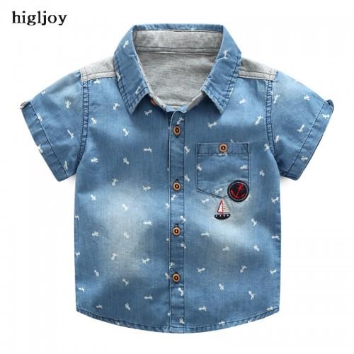 Higljoy Brand 2017 Hot Sale Boys Soft Denim Short Sleeve Shirt Summer Wash Patch Children Treasure Patchworkcasual Kids Clothes