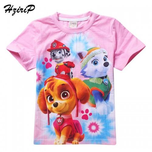 HziriP 2017 New Children Girls T-shirt Cute Cartoon Animation Dog Cotton Summer Short Sleeve Girls Tops Children Girl Clothes