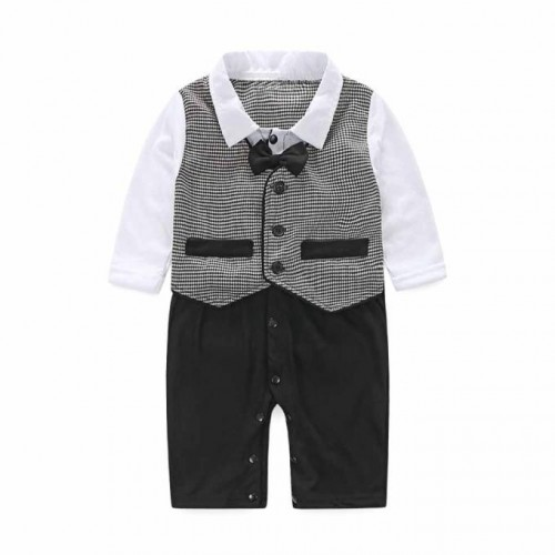 KLV Baby Boy Formal Party Christening Wedding Tuxedo Waistcoat Bow Tie Suit 0-24M