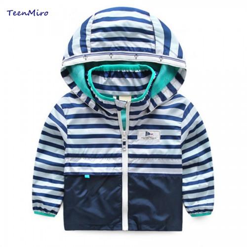 Kids Striped Toddler boys Jackets Spring Autumn Hooded Coat Clothes For Children Outerwear Blazer Minnie Baby Boy Windbreaker