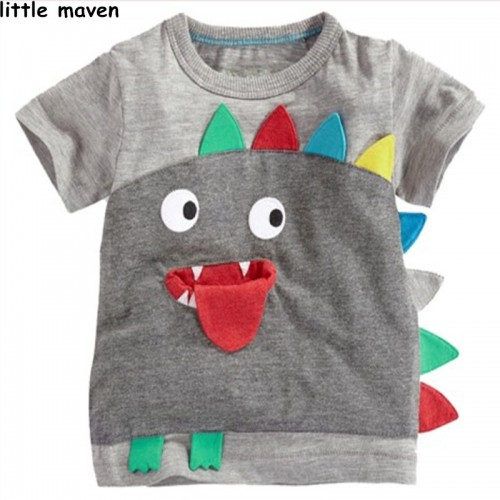Little maven brand children clothing 2017 new summer baby boy clothes short sleeve t shirt Cotton embroidered tee tops L020