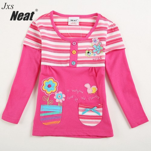 NEAT 2017 new spring and autumn long sleeves round neck girls children's clothing printing embroidery baby girl shirt L181