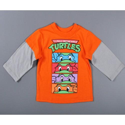 New 2016 Animation Kids T-shirt Baby Boy Clothes Orange Long Sleeve T-Shirt Splice Baby boy Tops Children Clothes kinder kleding