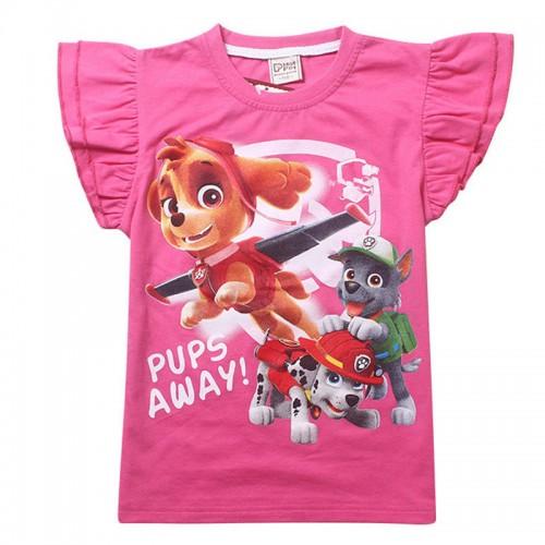 New 2017 Baby Girl Clothes T shirt summer Cartoon Dog pattern toddler Girls T-shirt Brand Short Sleeve Pink Rose Red Top For Boy