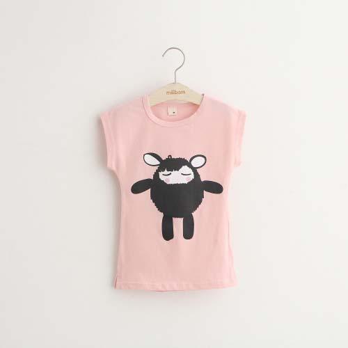 New 2017 summer girls round neck short sleeve T-shirt cartoon children cute girls long T-shirt shirt tops