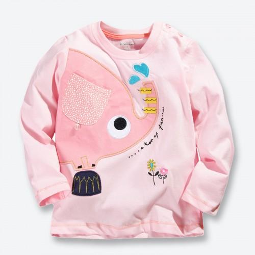New Spring Fall Girls T shirt Pink Cartoon Elephant Children Kids Baby Girls T shirt Long Sleeve Clothes Girl Tees Tops 1-6 Yrs
