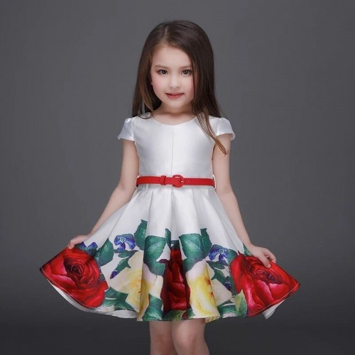Retail 2016 NEW belt summer high-end printing princess dress with short sleeves