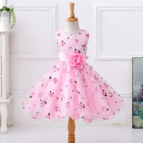 Retail flower dress in sashes for wedding party girls floral print dress