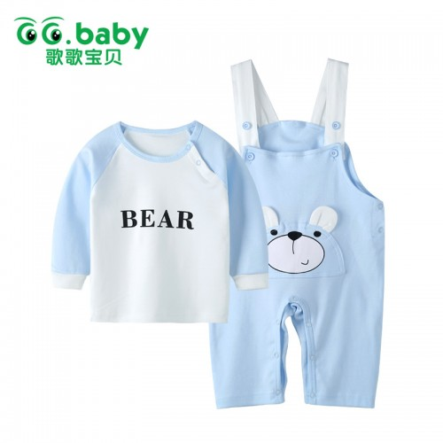 Kids Suspender Set  Bear Sets Long Sleeve Overalls for Cotton Suits Pajamas