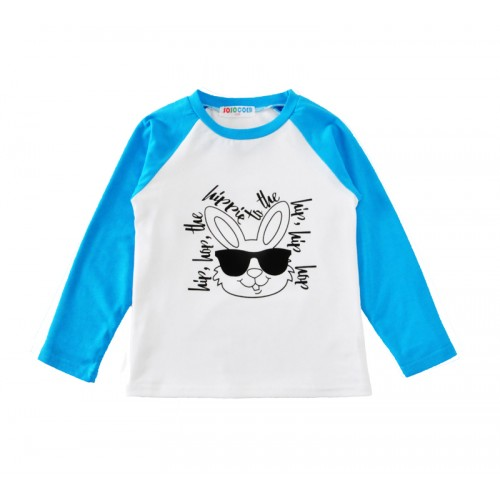 Cute Rabbit Print  T-shirt  Letter Splicing Toddler Clothing Top