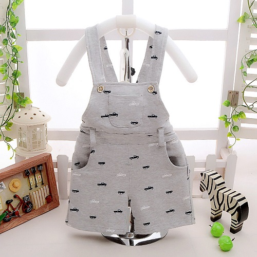 Cotton Baby Car Print Infant Kids Overalls Casual Boys Shorts