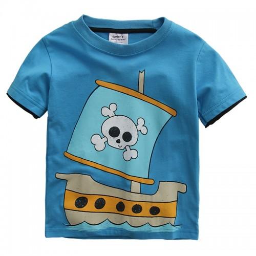 Summer Kids Cool Pirate Ship Tops Short Sleeve Boys T Shirts