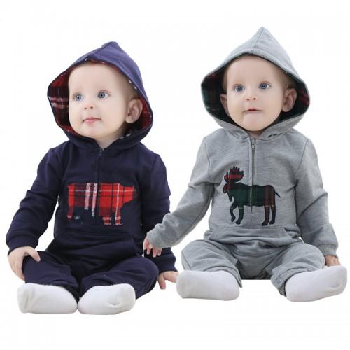 Toddler Zipper Hooded Cotton Full Tops Hoodies +Long Pants 2Pcs Set