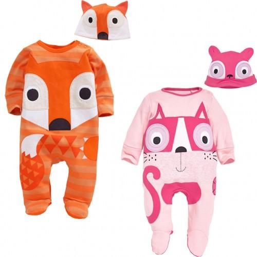 Toddler Infant 2pcs Cartoon Fox Owl Baby Boys Girls Playsuit Outfits