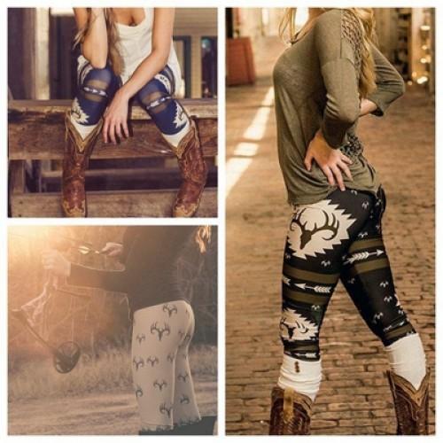 New Fashion Women's Arrow Deer Printed Slim Narrow Leg High Waist Long Pants Leggings