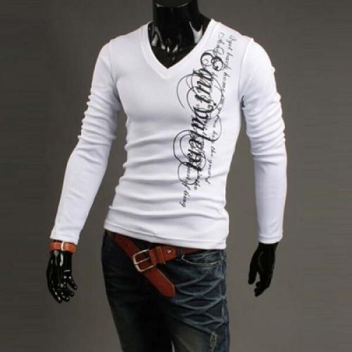 Latest Leisure Slim V-neck Letters Printed Long Sleeve Cotton T-shirt for Men - 3 Color