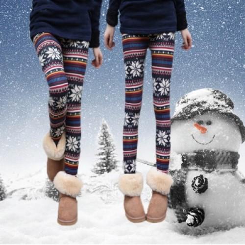 Women's Nordic Snowflake Reindeer Pattern Knitted Fleece Lined Leggings
