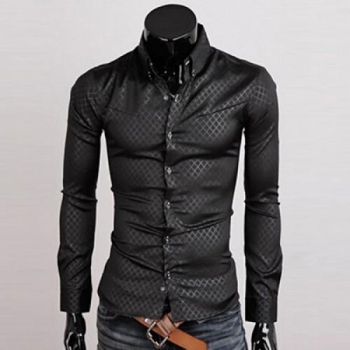 Casual Fashion Slim Fit Rhombus Pattern Long Sleeve Dress Shirt For Men