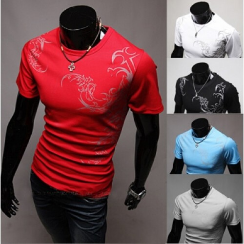 Fashion Short Sleeve Sleeved V Neck Collar T shirt Shirt Tee For Men