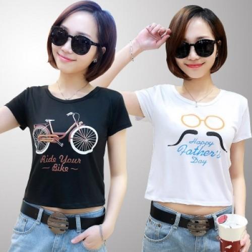 Women Pattern Print T-Shirt Tops O-neck  Navel Cotton Casual Tops