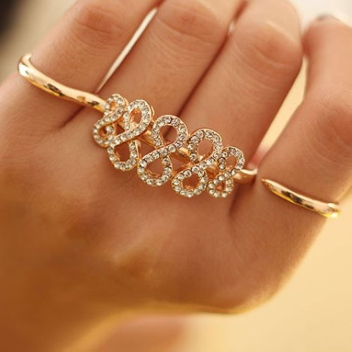 Fashion 8-Shape Dual-ring Rhinestone Ring for Woman