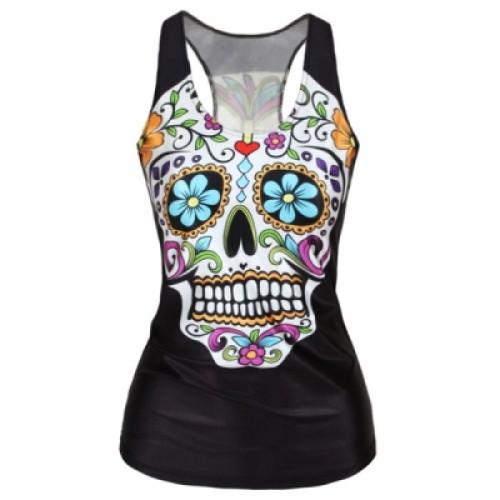 Women Girl Fashion Flower Skull Head Print Vest O-Neck Tank Top