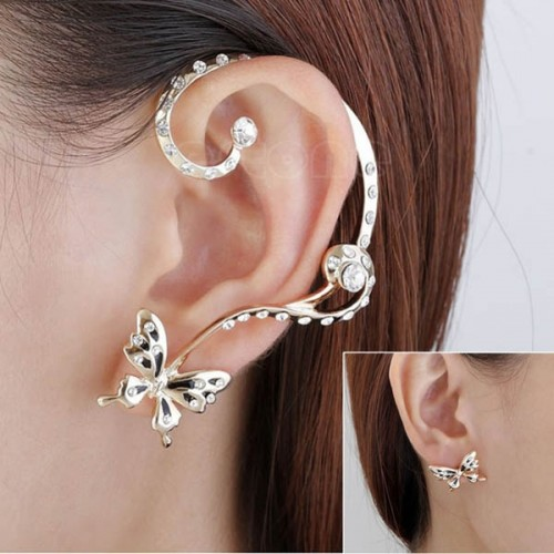 1 Pair Ladies Chic Lovely Crystal Rhinestone Butterfly Ear Cuff Clip Earrings