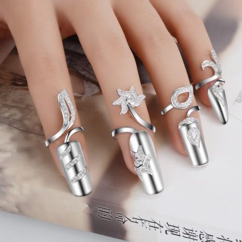 CZ Diamond Wedding Nail Rings For Women white Gold Plated Fashion Punk Finger 4 Pcs Set
