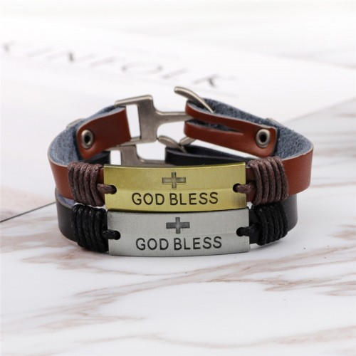 New Style Cross God Bless Leather Bracelet Casual Personality Charm Jewelry Vintage Punk Bracelet
