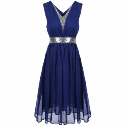 Sequins Patchwork Elastic Waist Ruched Chiffon Dress