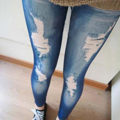 2017 NEW Arrival Fashion Women Leggings Slim Faux Denim Look Jeans