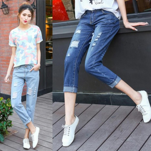 2017 summer fashion loose jeans women large size jeans hole pants