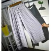 2017 women wide leg legging calf length summer pant black white fashion pleated pant lady quality loose pants