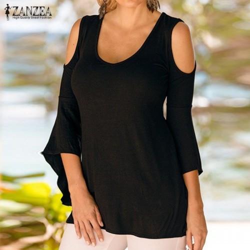 ZANZEA Women Blouses Sexy Off Shoulder V Neck Flare Sleeve Plus Size Tops