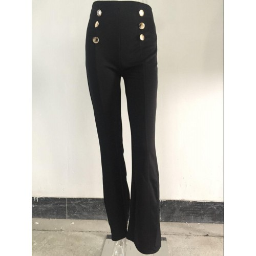 Casual black red white pants for women fashion button decorate high waist full length flare leggings costume SN-S2006