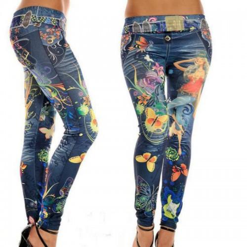 Fashion Leggings Jeans for Women Flower Butterfly Print Ankle-length Thin Mid Waist Elastic