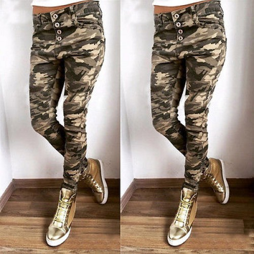 Fashion Women's Candy Pants Pencil Trousers Casual Camouflag Pants Stretch Skinny Leggings Women Slim Ladies Jean Trousers