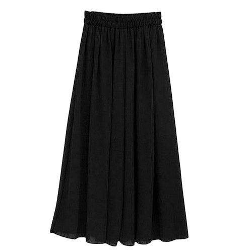 Fashionable Design High Waist Women Chiffon Long Pants Solid Color Loose Lady Wide Leg Pants All Match Clothes