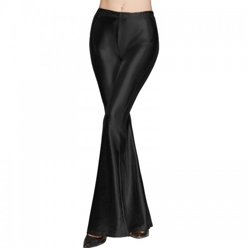 Gold Hands Long Performance Flare Pants Dance Women Hot Sexy Black Wet Look Faux Leather Leggings Slim Shiny Pants Dancing Jazz