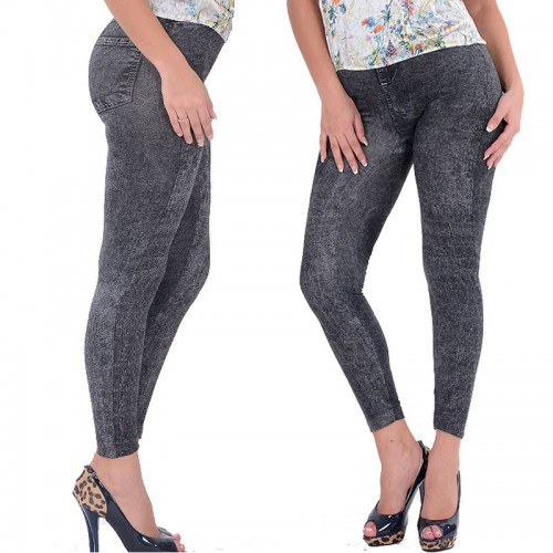 Hot Selling Lady Girl Black Sexy Faux Jean Skinny Jeggings Stretchy Slim Pants Plus Size Ankle-Length Pants Women Jeans