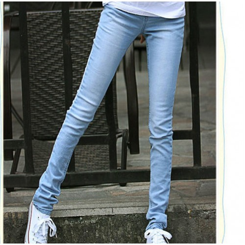 Hot sale women fashion light jeans lady casual washed slim pencil jeans free shipping