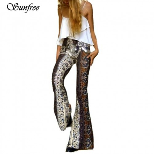 Comfortable Fashion Womens Ankle Length Printed Stretch Flare Pants