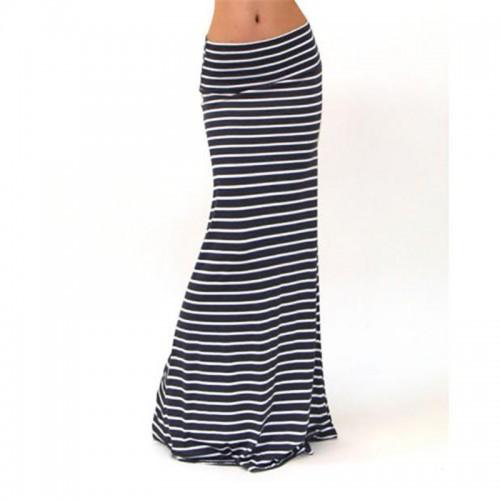 Asymmetric High Waist Striped Fold Over Stretch Long Maxi Skirt