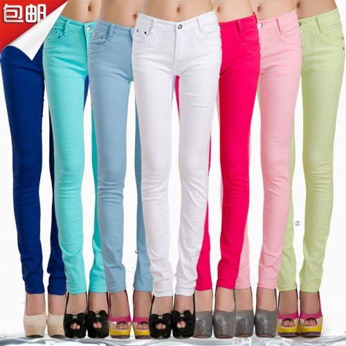 Women fashion thin candy colors casual slim straight jeans