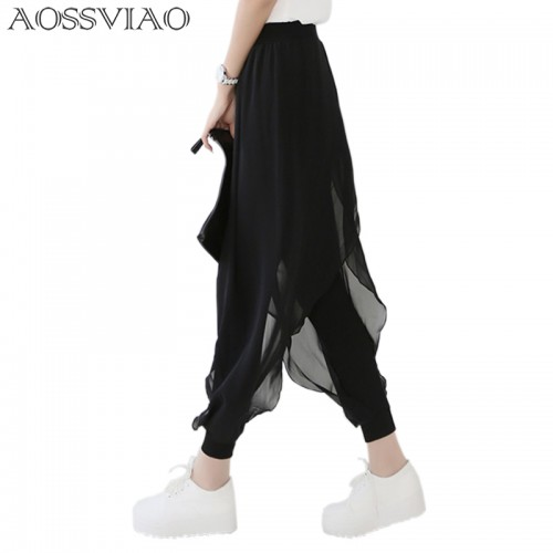 Casual loose chiffon harem pants women pants black